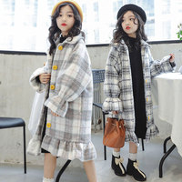 2019 New Kid Girl Jackets Winter Wool Coat for Girls Teens Autumn Jacket Warm Outerwear Children Plaid Windbreaker 4T 14T