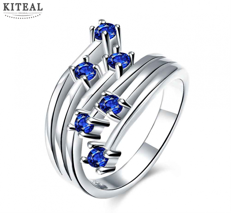 Newest silver engagement ring blue crystal ring Meteor insets aneis women jewelry display-in