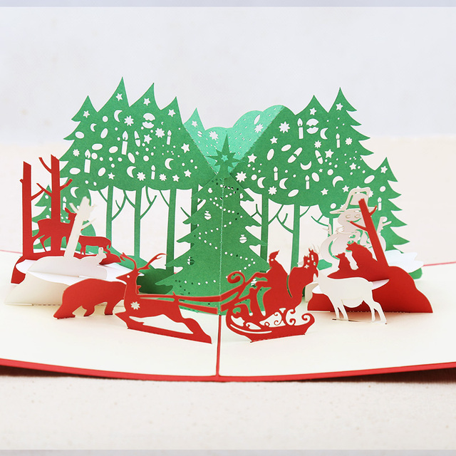 Christmas party 3D laser cut pop up paper Holiday handmade Vintage ...