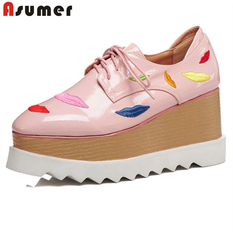 ASUMER 2018 New fashion wedges high heels shoes women pumps lace up round toe platform shoes spring summer ladies shoes woman bonjomarisa new arrivals 2016 solid plain round toe lace up sporting thick platform pumps women fashion cassual shoes women