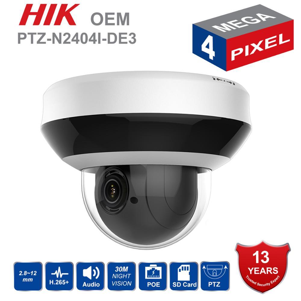 Em Estoque Câmera PTZ IP HIK PTZ-N2404I-DE3 OEM 4MP 4X Zoom 2.8-12mm lente de Vigilância de Vídeo em Rede POE dome CCTV Câmera de Áudio