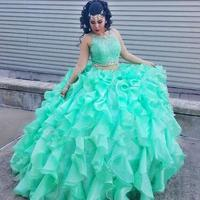 Two piece Turquoise Quinceanera Dresses Prom Beaded Crystal Organza Ball Gowns Sweet 16 Gowns Formal Dress for 15 year ballkleid