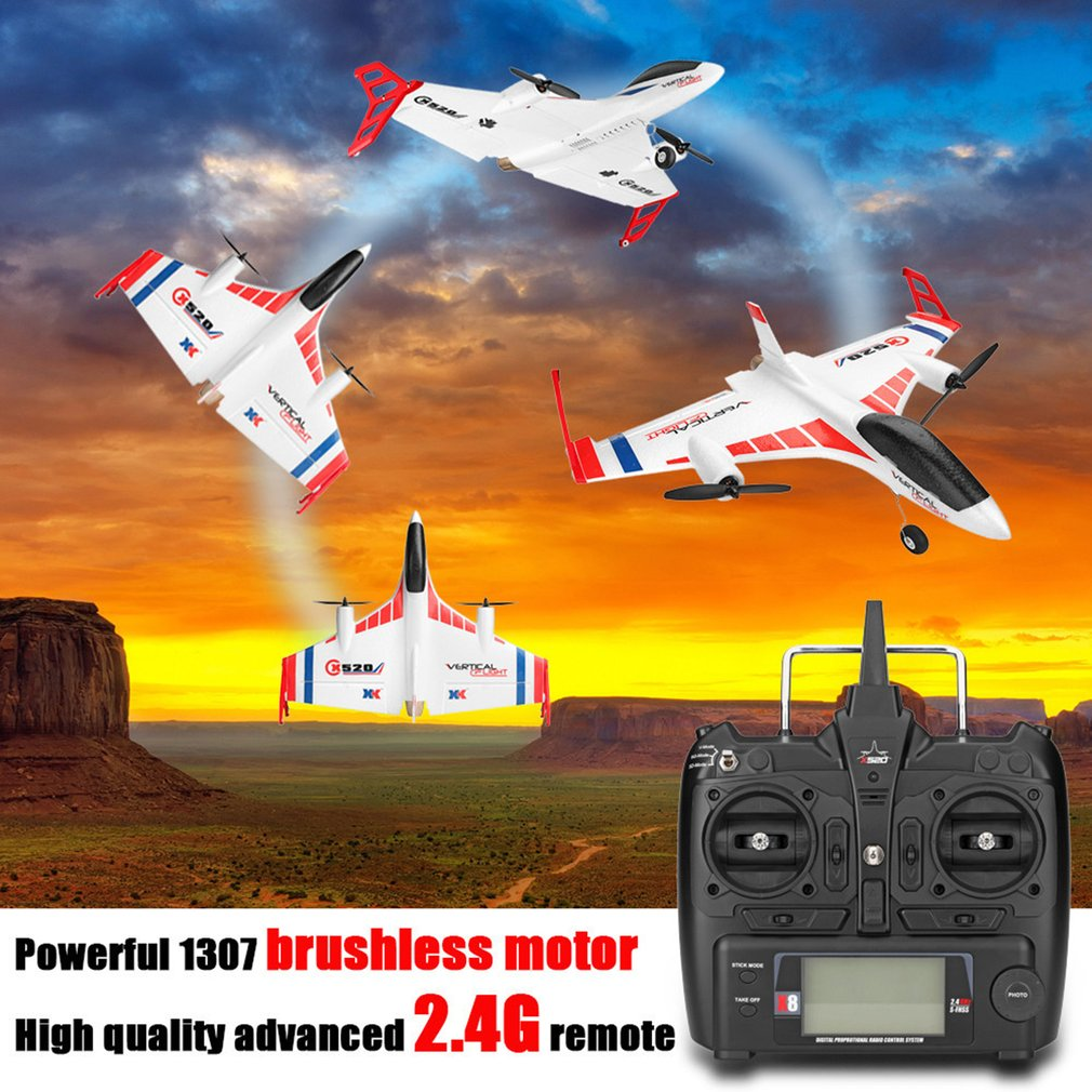 XK X520 6CH 3D/6G Airplane VTOL Vertical Takeoff Land Delta Wing Brushless RC Drone Fixed Wing with Mode Switch 720 FPV CameraXK X520 6CH 3D/6G Airplane VTOL Vertical Takeoff Land Delta Wing Brushless RC Drone Fixed Wing with Mode Switch 720 FPV Camera