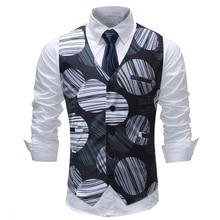 2018 summer new mens striped print suit vest plus size 5xl cotton tweed waistcoat men slim fit