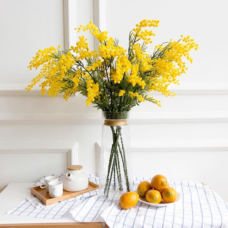 INDIGO- 9PCS Australia Acacia Yellow Yellow Mimosa Pudica Spray Silk - Furnizimet e partisë - Foto 1