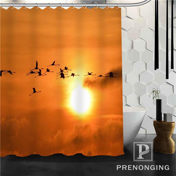 Sunset Orange Shower Curtain Fabric Waterproof Mildewproof Modern Bath Bathroom 85 Multi Size S