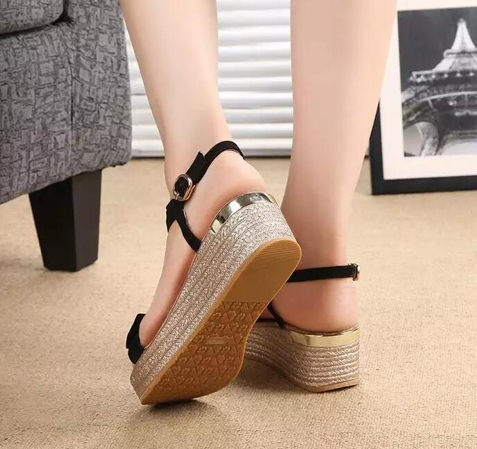 2016 Summer Sweet Cherry Bow Decor Flat Platform Women T-strap Sandals Sheepskin White Black Ladies Comfortable Wedge Shoes
