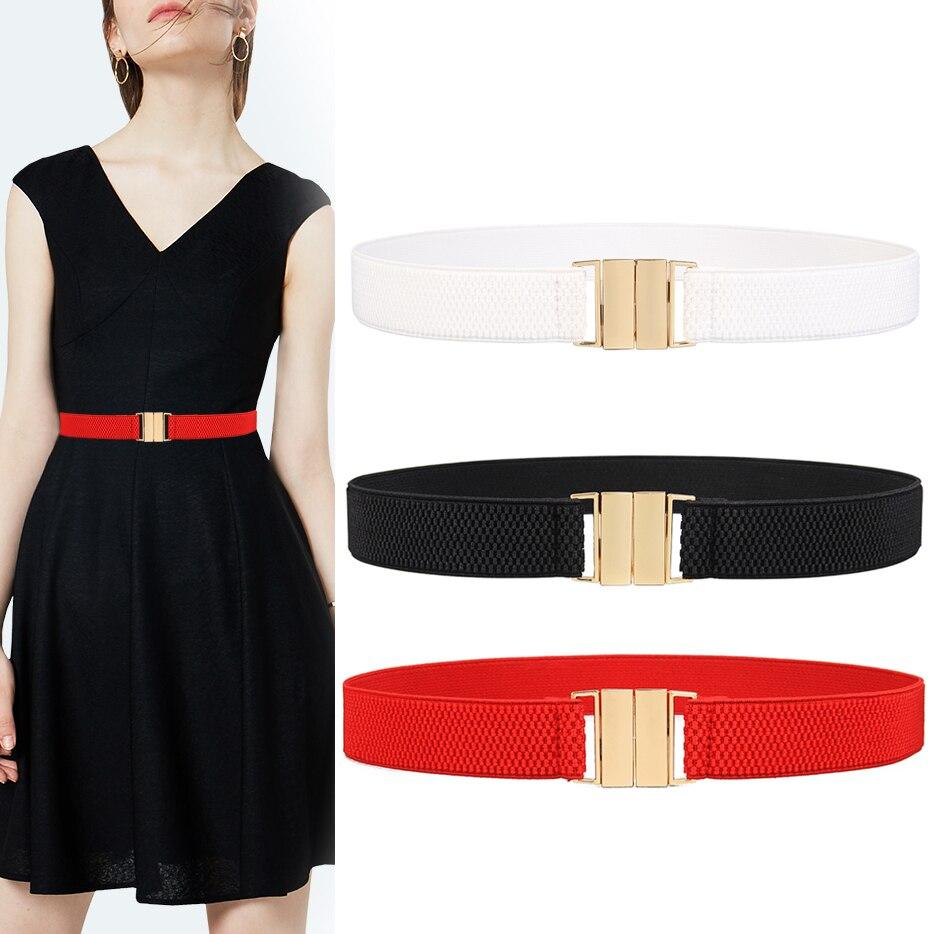 Women Lady Dress Waist Belts Stretchy Wide Stretch Buckle Slim Elastic Waistband