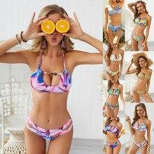 Plus Size Bikinis Women Bandage Swimsuit Bikini 2019 Summer Sexy Push Up Swimwear Print Bathing Suit Halter Swim