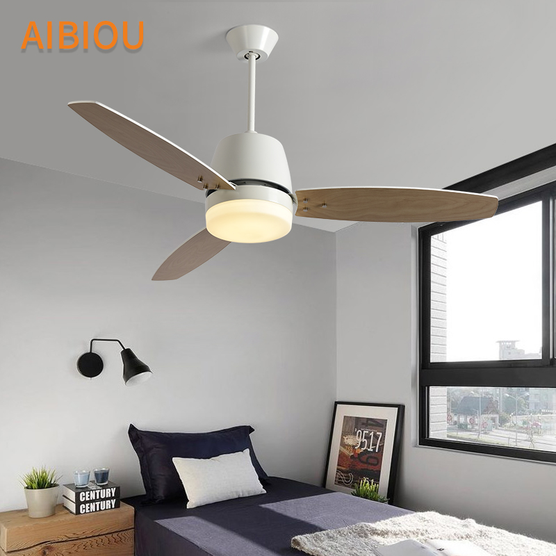 AIBIOU Modern LED Ceiling Fans For Dining Room White Cooling Ceiling Fan Lights 220V Wooden Fan Lamp Indoor Lighting Fixtures in Ceiling Fans from Lights Lighting