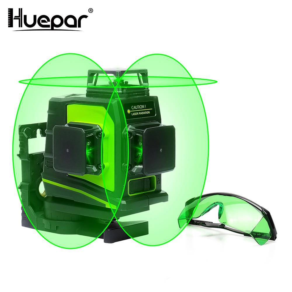 Huepar 12 líneas 3D Cruz Rayo verde láser de línea nivel autonivelante 360 grados Vertical y Horizontal carga USB con gafasNiveles láser   -