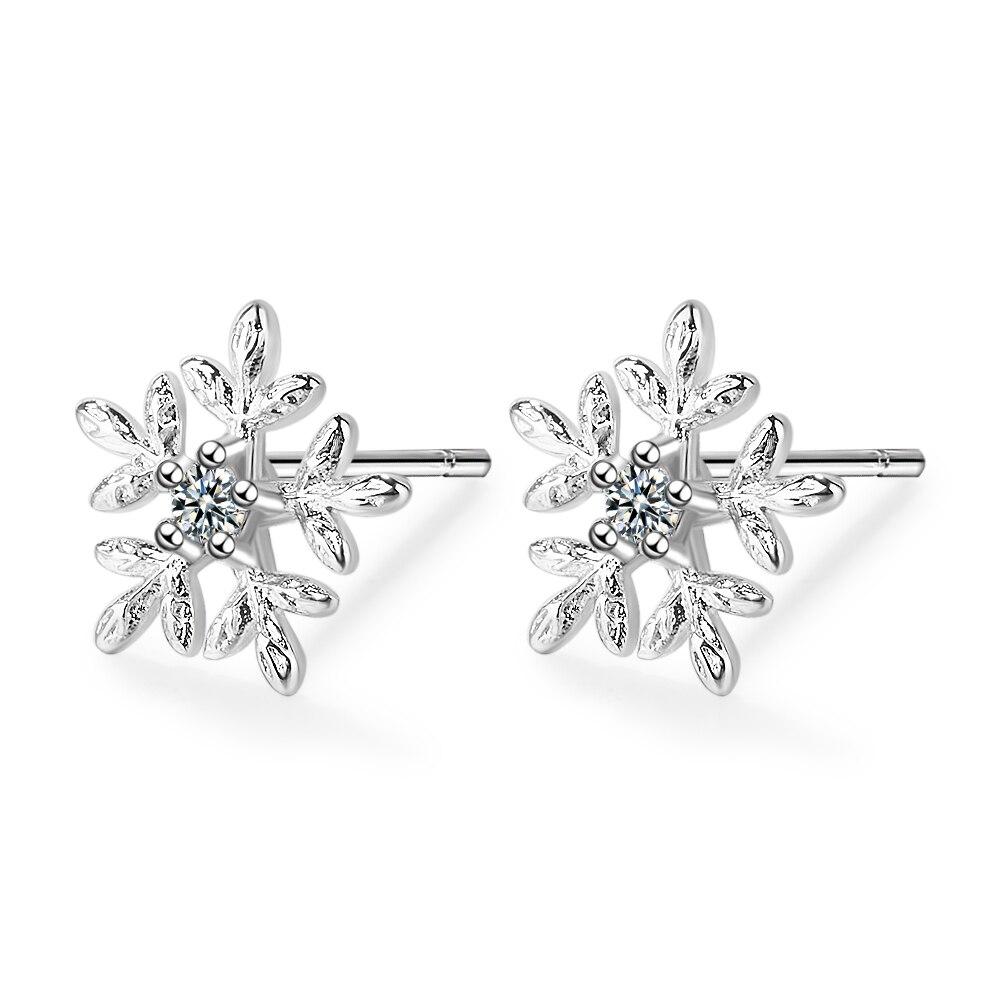 SMTCAT 925 Sterling Silver Glittering Snow Classic Stud Earrings For women Shiny Austrian Zircon Earrings Fashion Jewelry