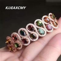 KJJEAXCMY Fine jewelry 925 Sterling Silver tourmaline bracelet, natural rose gold, 18K
