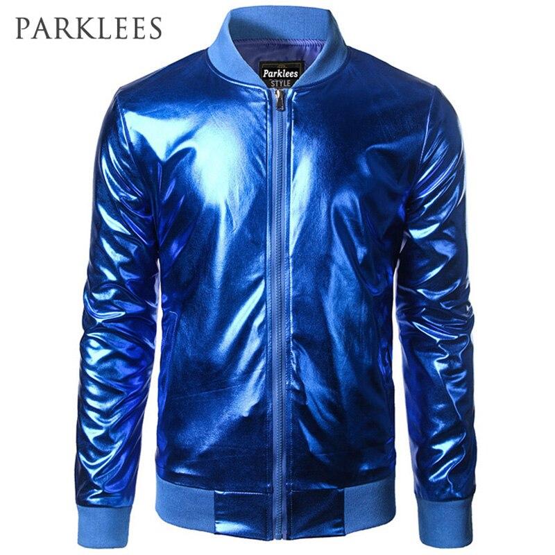 Shiny Blue Metallic Jacket Men Brand Night Club Hip Hop Zipper Jackets Stand Collar Lightweight Baseball Bomber Jackets and Coat