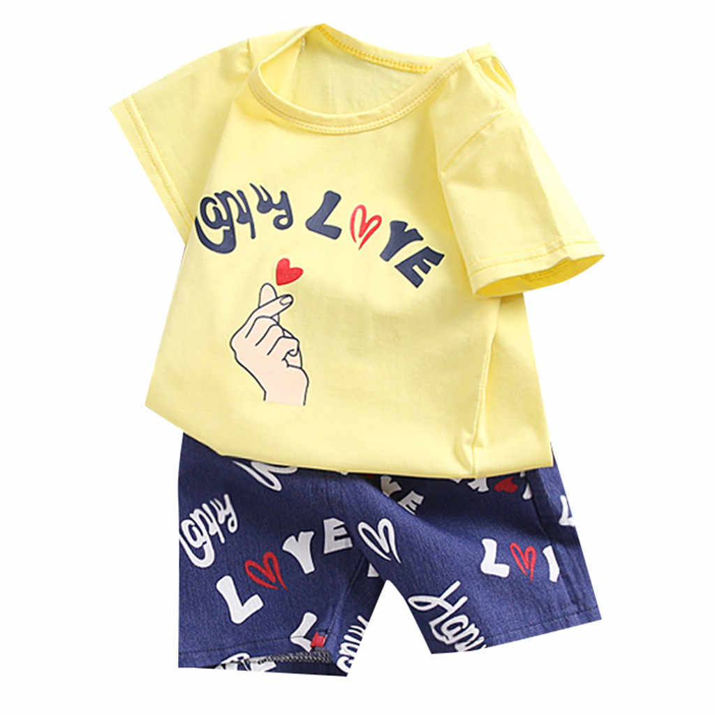 9b00b37dd8a00 Baby Girl Boy Summer Clothes Set newborn clothes Cartton Letter Print Tops  roupa infantil T Shirt Overall Striped Pants carters