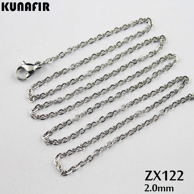 "16""-38"" -2mm cross chain stainless steel necklace fashion welding chain sweater chain women lady jewelry 10pcs-500pcs ZX122"