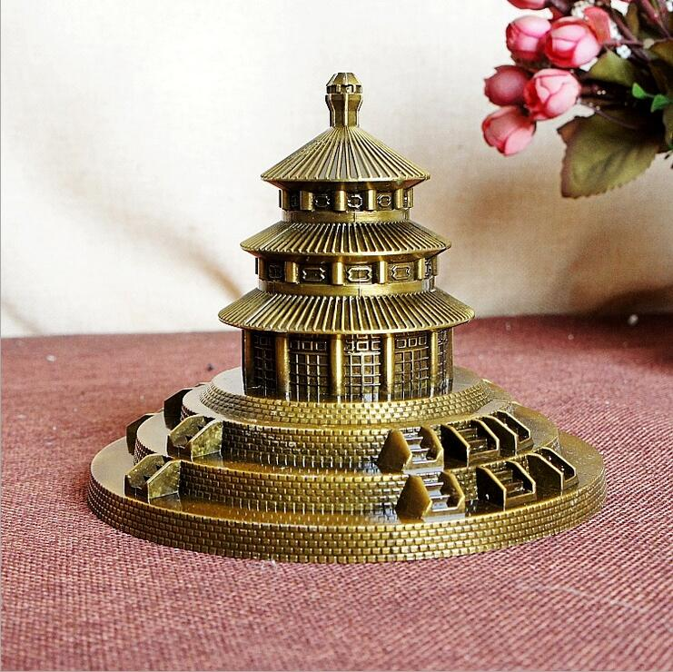 New Beijing Temple of Heaven Metal Crafts Gifts Office Ornaments Architectural Sculpture Building Model Bronze 15*15*12cm