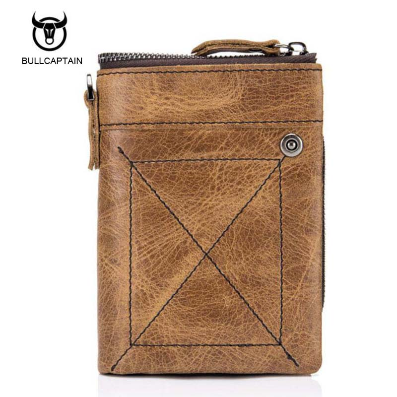 New 100% Genuine Leather Men Wallets Man Famous Small Short portomonee with Coin Zipper Mini Male Purses Card Holder Walet