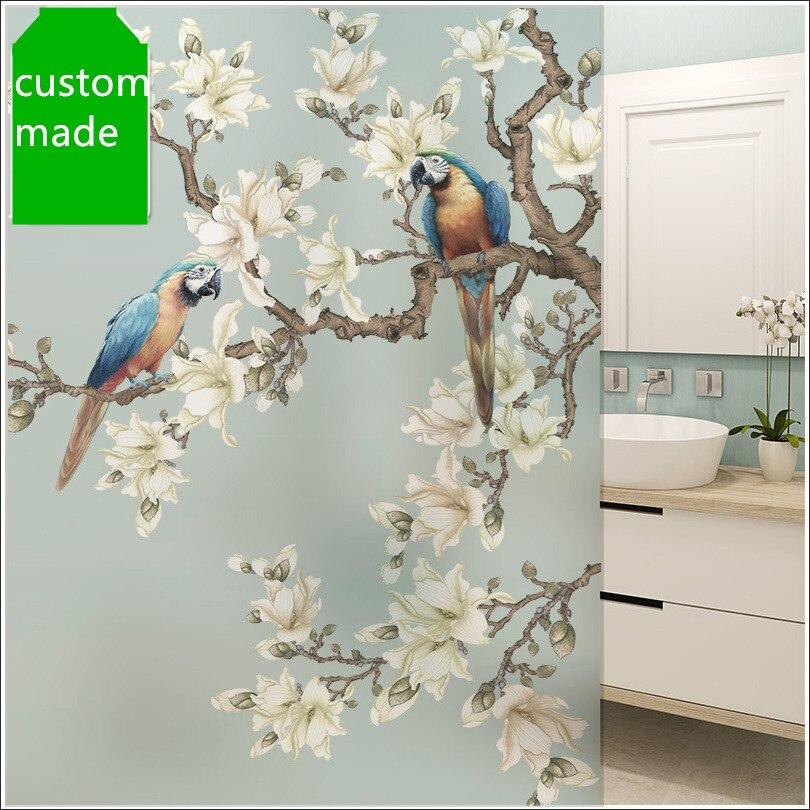 Personalizado estática película de ventana de cristal de baño Balcón de papel de ventana de tienda de pegatinas ventana decorar los pájaros