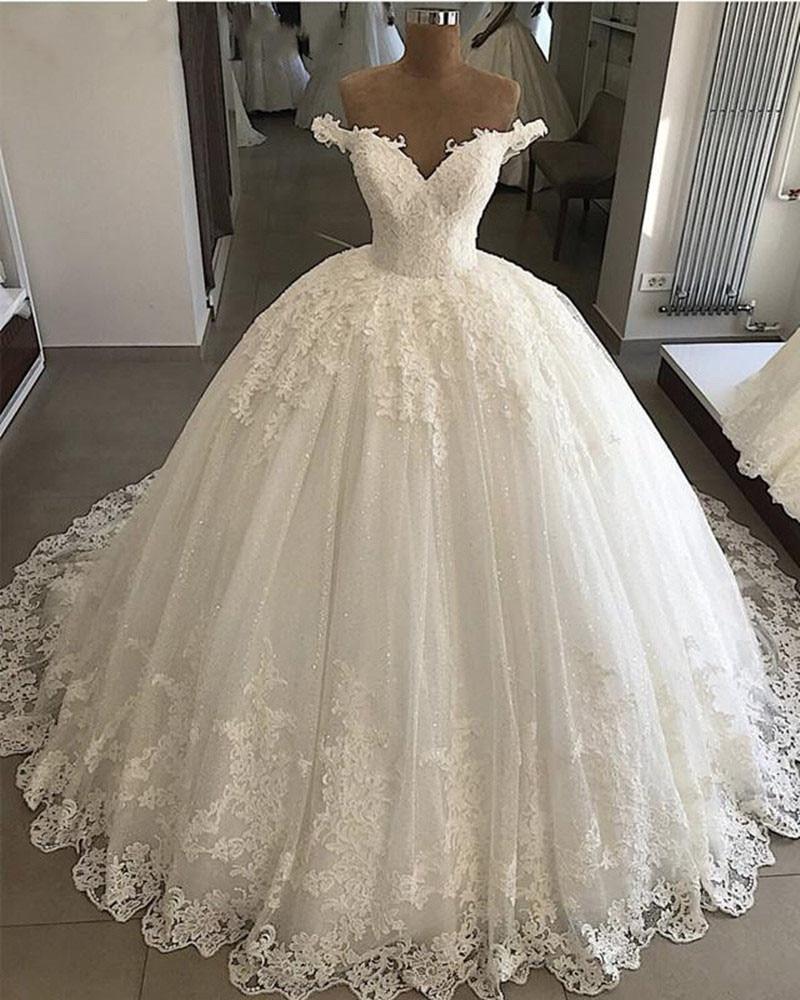 Vestido De Noiva 2019 Princess Wedding Dresses Ball Gown Off Shoulder Sweetheart Glitter Applique Lace Saudi Arabic Bride Dress