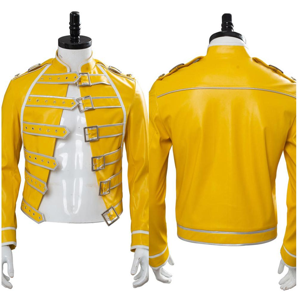 Queen Lead Vocals Freddie Mercury Cosplay Costume adulte hommes femmes jaune veste manteau Halloween carnaval sur mesure