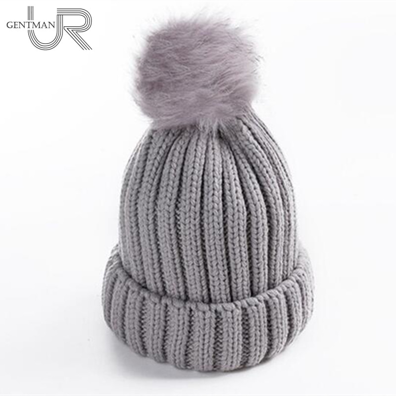New Faux Fur Ball Solid Winter Hats For Women Girl's Wool Knitted Hat Ladies Cotton Beanies Thick Female Cap 4pcs new for ball uff bes m18mg noc80b s04g