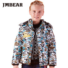 JMBEAR boys down coat camouflage winter jacket children hooded thick snowsuit 6-14years