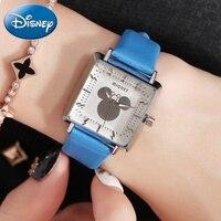 Mickey Women's Square Fashion Casual Simple Quartz Waterproof Wristwatch Female Genuine Leather Disney Brand High Quality Clock