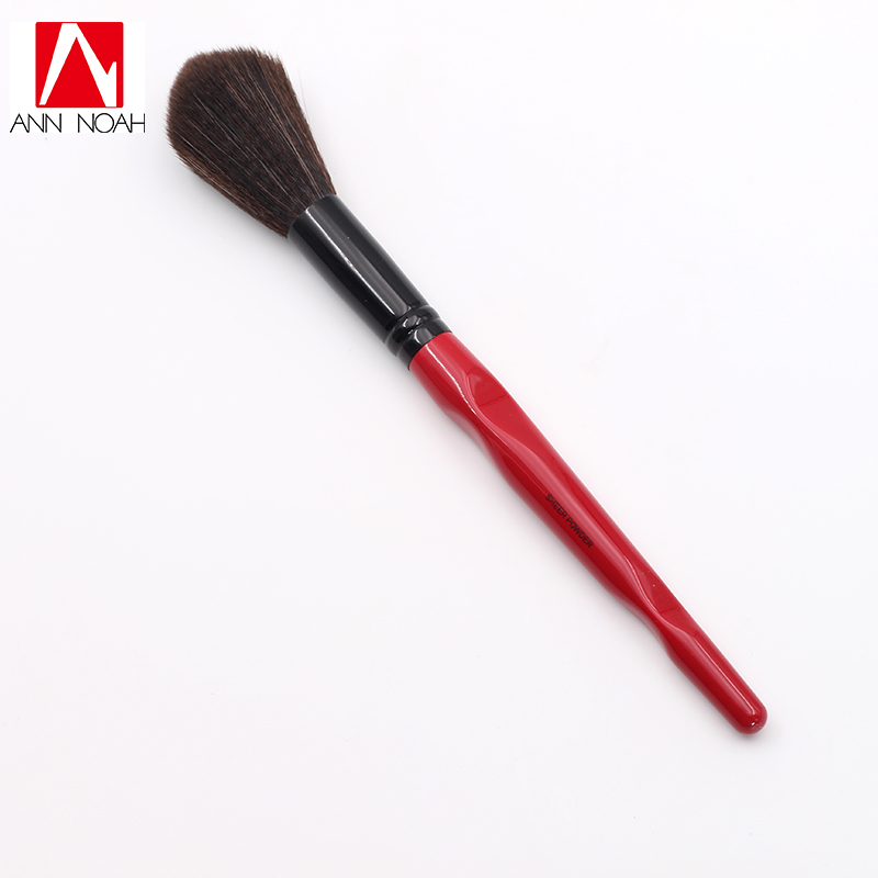 New Arrive Limited Quantity Red Body Curve Plastic long Handle Long Fluffy Synthetic Sheer Powder Brush plastic handle cuticle fork red