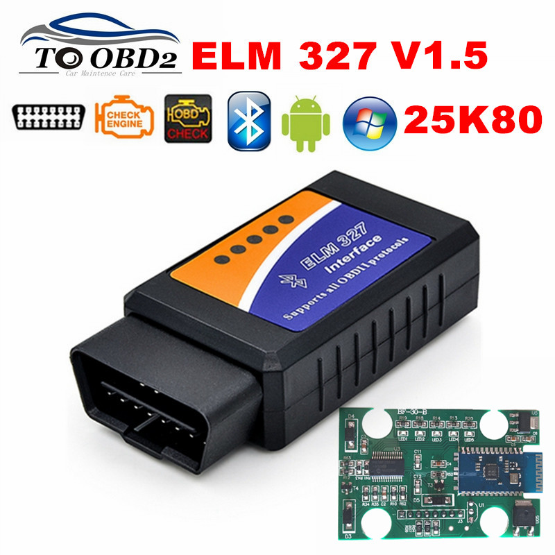 <font><b>PIC18F25K80</b></font> Chip V1.5 Firmware Bluetooth ELM327 OBD OBDII Car Diagnostic Scanner Supports Multi-Cars ELM 327 <font><b>1.5</b></font> Auto OBD Tool image
