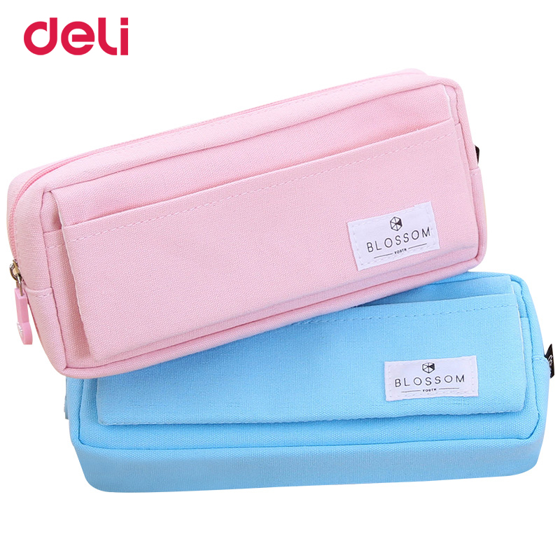 все цены на Deli Canvas Pencil case for school & office Supplies cute Stationery Storage bag Gift Pencil Bag School Case pencil pouch