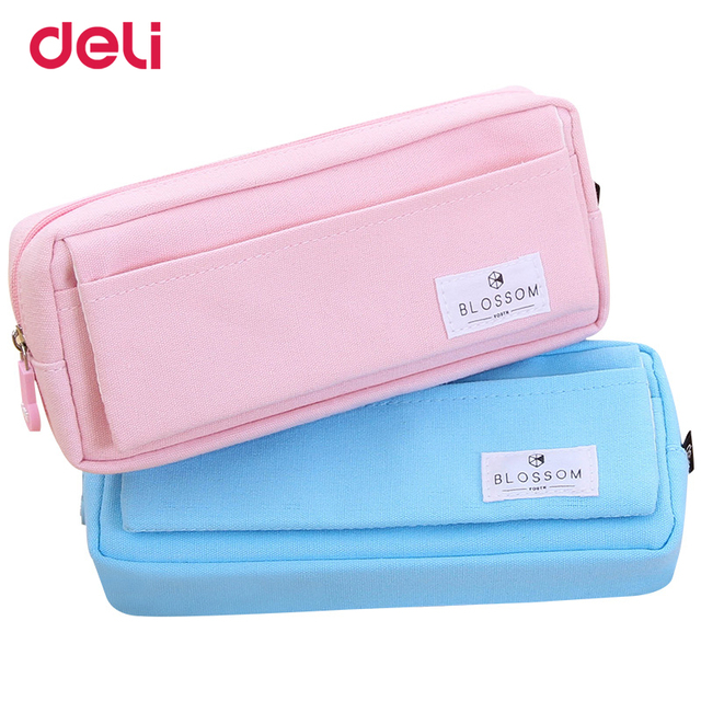 deli canvas pencil case for school office supplies cute stationery