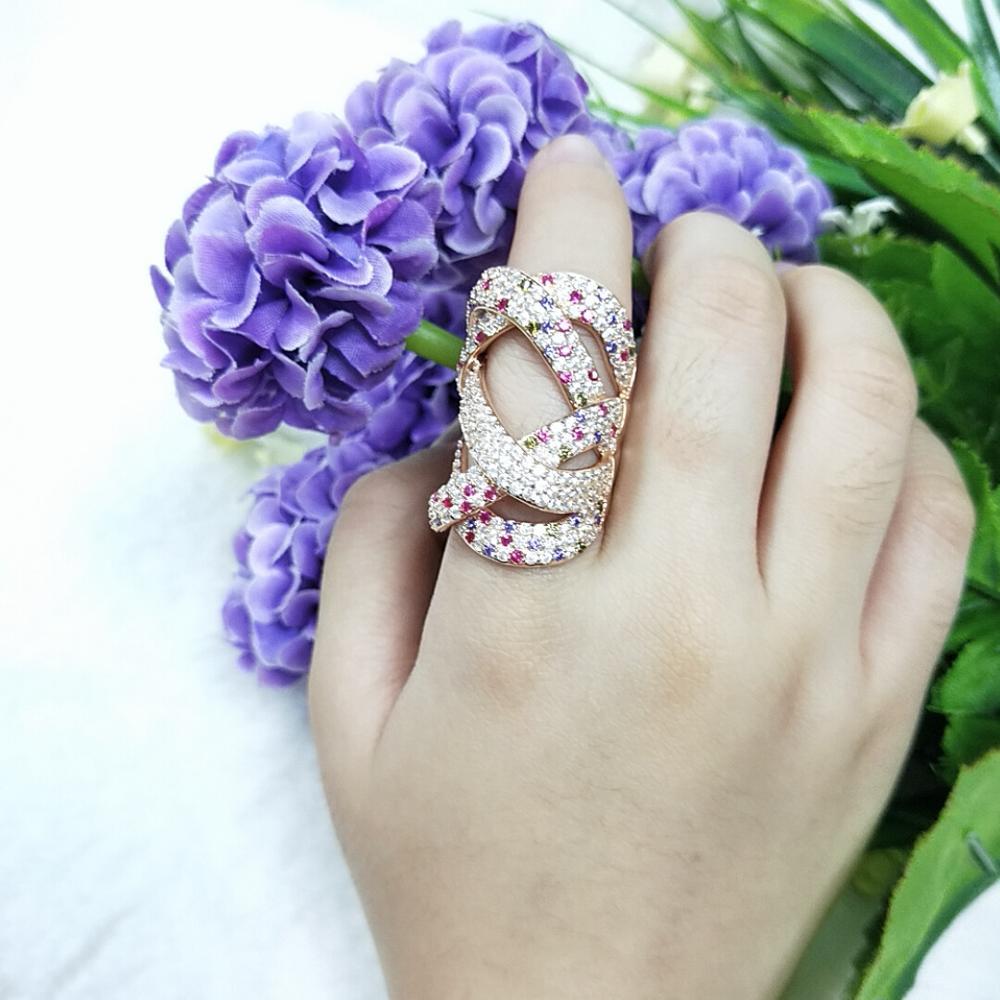 TKJ luxe grand remontage géométrie croisée zircone cubique CZ rubis pierres précieuses anneaux pour femmes mariage Dubai mariée bague bijoux - 5