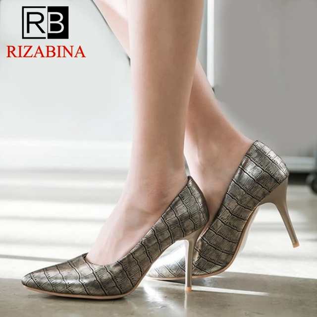 677c8209ce2 RizaBina Plus Size 30 48 Classic Women Pumps Plaid Pointed Toe Thin High  Heels Shoes Office Lady Slip On Sexy Footwear