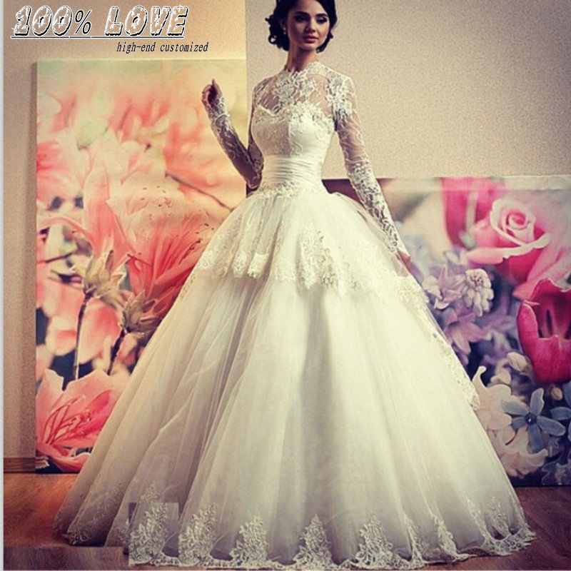 Wholesale Long Sleeve Lace Appliqued Pleat Belts Kleinfeld Wedding Dress In Dresses From Weddings Events On Aliexpress