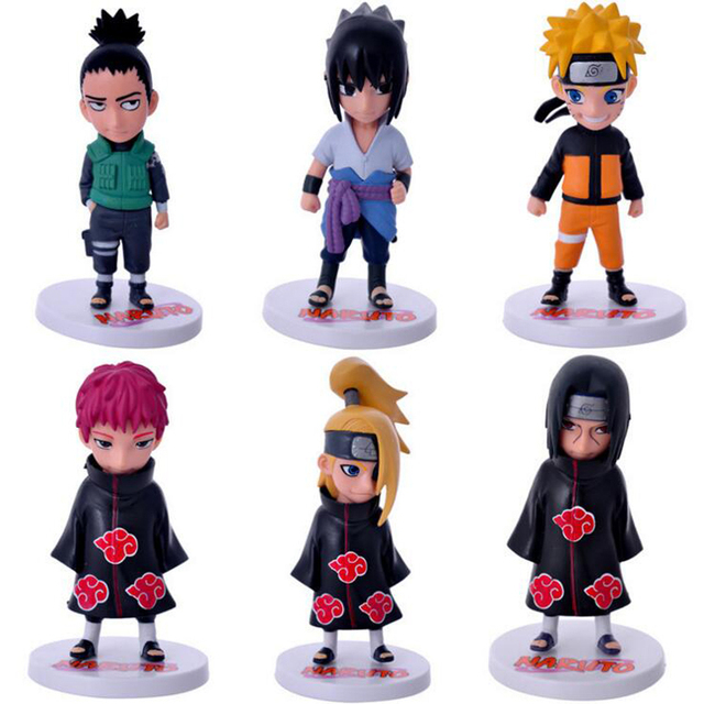 Naruto 6Pcs/Set Sasuke Figure Set Figurine PVC Action Figure Toys