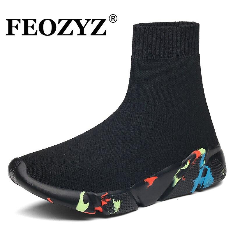 FEIOZ Tênis Dos Homens Das Mulheres de Malha Superior Sapatos de Desporto Respirável Meia Botas Sapatos Mulher Robusta de Alta Top Tênis Para Homens mulheres