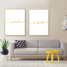 Minimalist Exhale Inhale Letters Canvas Paintings Abstract Nordic Poster Print Wall Art Picture Living Room Home Office Decor