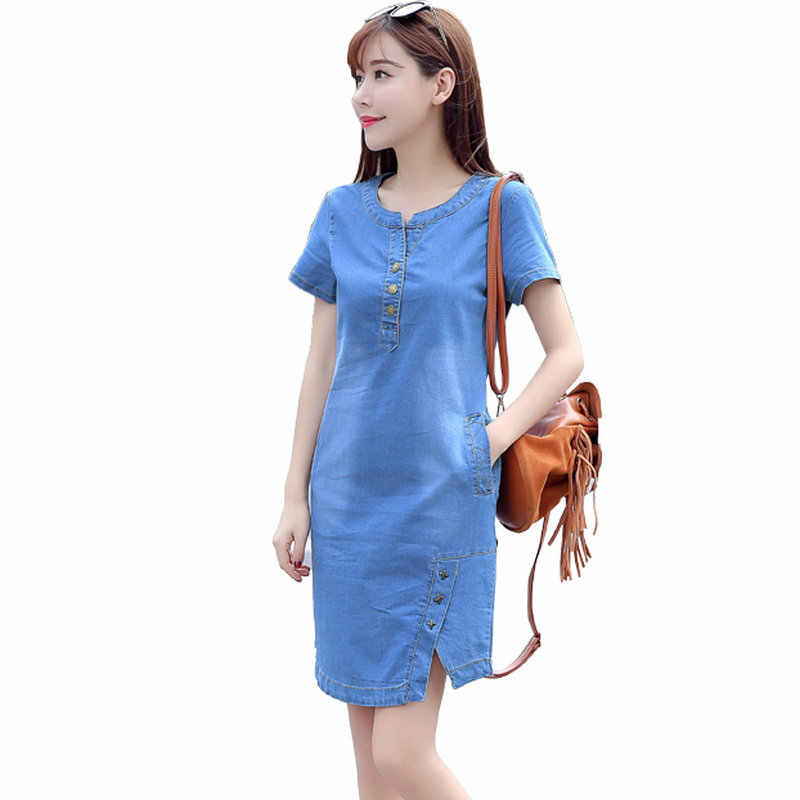 Корейские джинсовые платья для женщин 2019 новое летнее повседневное джинсовое платье с карманом на пуговицах сексуальное джинсовое мини платье плюс размер 3XL