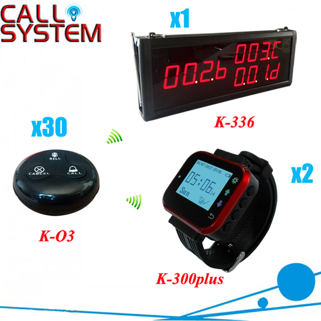 Wireless Caller System for restaurant coffee shop; 1 number display + 2 watch pagers + 30 button