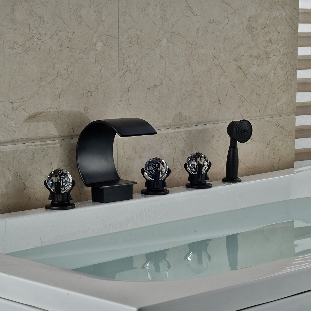 Traditional 5pcs Bath Tub Faucet Oil Rubbed Bronze Three Handles Mix Tap