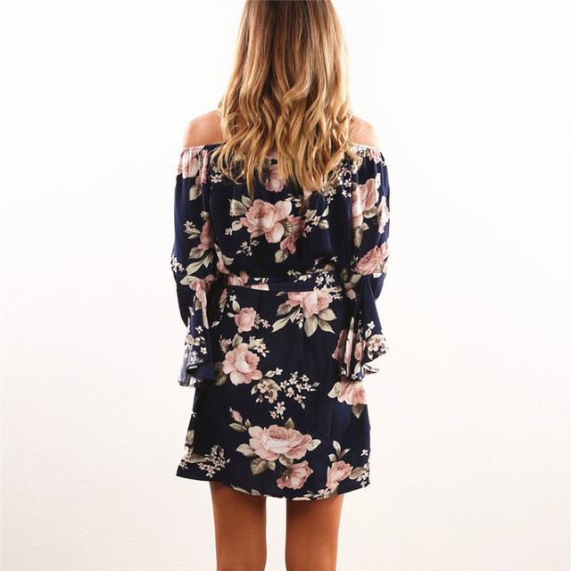 Women Dress 2018 Summer Sexy Off Shoulder Floral Print Chiffon Dress Boho Style Short Party Beach Dresses Vestidos de fiesta