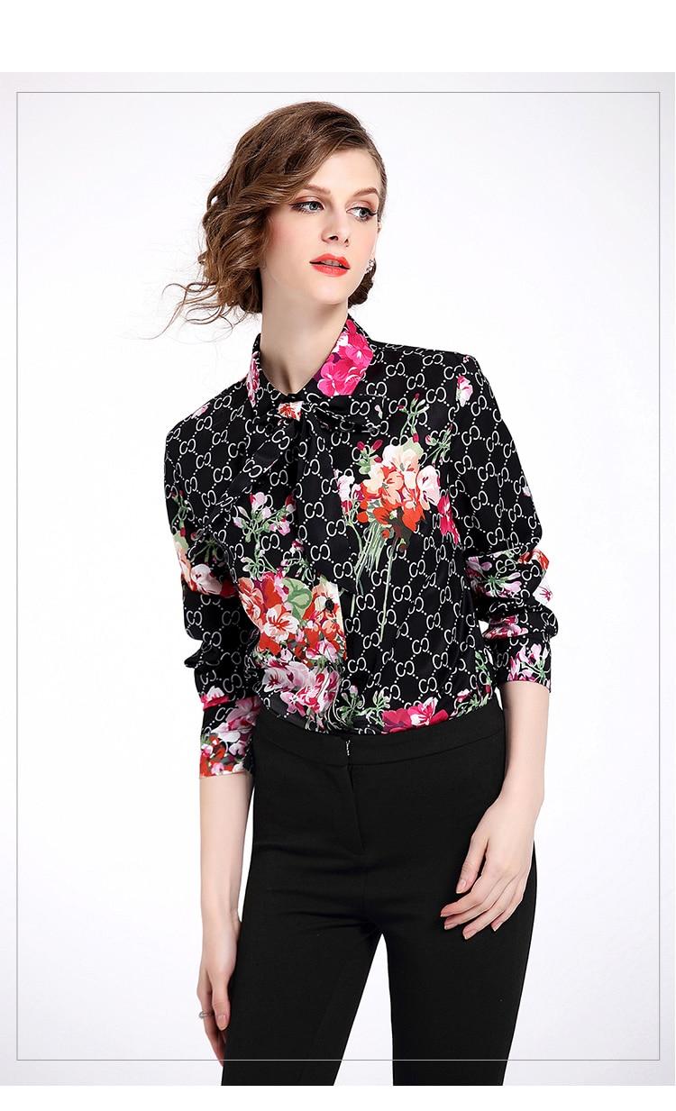 2018 Newest Design Vintage Woman Runway Black Slim Shirt Blouses Women Long Sleeves Bow Print Floral Office Shirts Tops XXL