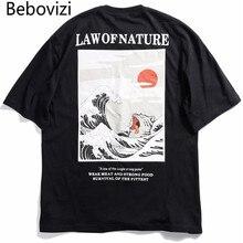 Bebovizi 2019 Summer Funny Cat Wave Printed T Shirts Men Japan Harajuku Hip Hop Cotton Casual Short Sleeve Tops Tees Streetwear цена
