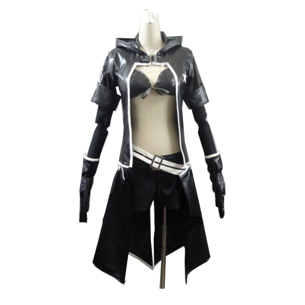 2017 Leather Jacket Set VOCALOID Hatsune Miku BLACK ROCK SHOOTER Cosplay Sexy Bikini Suits Attractive Long Coat Outfit