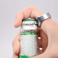 22mm Creative Versatile Stainless Steel Silver Finger Ring Shape Beer Bottle Opener