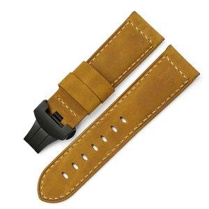 Image 3 - 24 milímetros Itália Couro faixa de Relógio Amarelo Macio Watch Band Cinta com Fivela de Implantação para 24mm PANERAI Relógios Pulseira