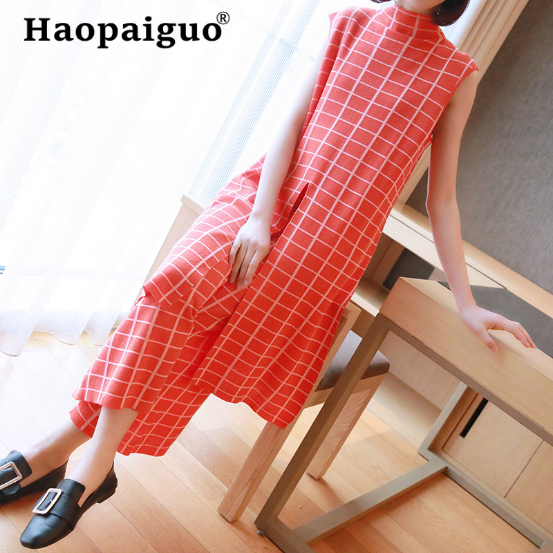 Elegant Knitted 2 Piece Set Woman Print Plaid Sleeveless Long Knitting Top And Wide Leg Pants Set Casual Two Piece Suit 2019