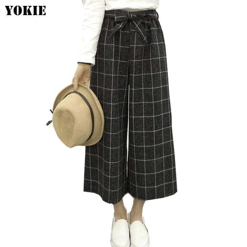 Summer style Women   wide     leg     pants   Plaid Linen cotton High elastic Waist ankle length loose women trousers casual Plus size