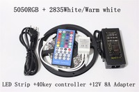 Led Strip Light RGBW Double Row 5050 RGB+2835 White/Warm White Flexible Lights 120leds+40key IR Controller+DC12V 8A Power supply